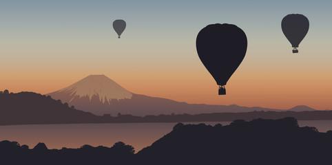 Montgolfière, montagne, Mont Fuji, évasion, liberté, calme, Japon, coucher de soleil, tranquille