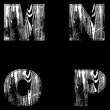 M, N, O, P, Letters White on a black background. Wood Design. Vector