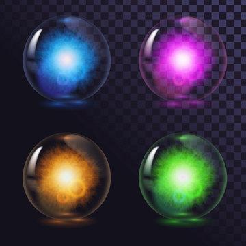 A set of glass glowing magic balls