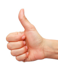 Closeup of female hand showing thumbs up sign isolated against