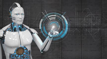Weißer Roboter klickt auf einem HUD Display
