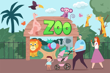 Happy family visits the zoo. Vector flat cartoon illustration with people, elephant, giraffe, kangaroo, monkey, parrot, lion and butterflies.