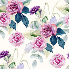 Watercolor seamless floral background. Colorful bouquet of flowers.