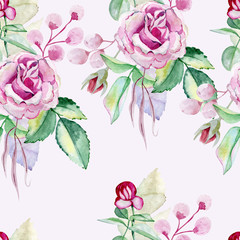 watercolor seamless pattern on the white background