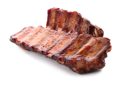Delicious grilled ribs on white background