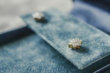 diamond earrings in jewelry box