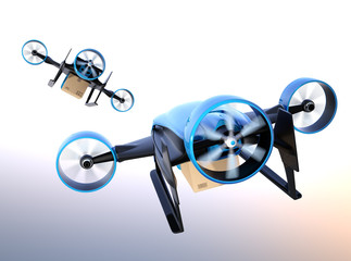 Rear view of blue VTOL drones carrying delivery packages flying in the sky. 3D rendering image.