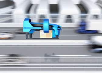 Side view of blue VTOL drone carrying delivery packages flying beside highway bridge. Concept for fast delivery service. 3D rendering image.