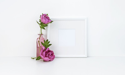Square frame mockup with peony