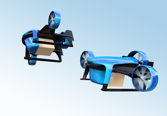 Metallic blue VTOL drones carrying delivery packages flying in the sky. 3D rendering image.