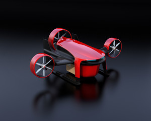Red VTOL drone with delivery packages on black background. 3D rendering image.