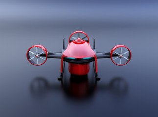 Front view of red VTOL drone with delivery packages  on dark background. 3D rendering image.