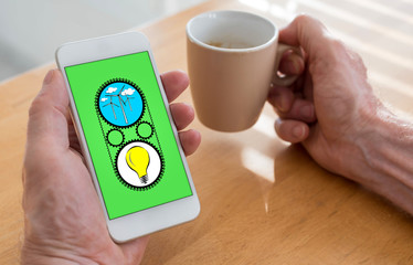 Clean energy concept on a smartphone