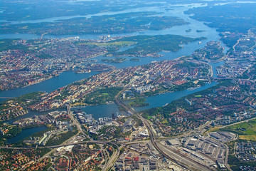 Aerial over Stockholm Sodermalm Old Town island and Djurgarden