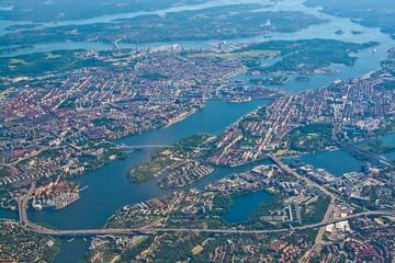 Aerial over Stockholm Sodermalm Old Town island Essingeleden Djurgarden