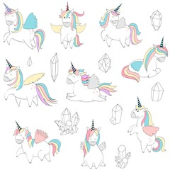 Vector illustration of cute unicorns in different poses and crystals.