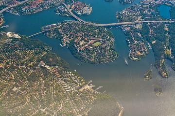 Aerial over Stockholm Essingeleden Traneberg bridge