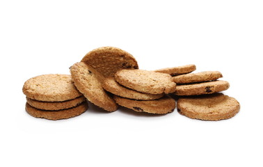 Round wholewheat biscuits with raisins isolated on white background