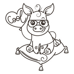 Cute cartoon baby pig in a cool sunglasses