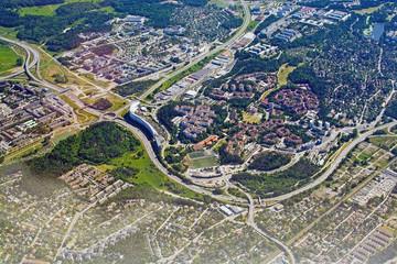 Aerial shot over Rissne Sundbyberg
