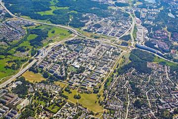 Aerial shot over Rinkeby Stockholm Sweden