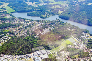 Aerial shot over Stockholm suburbs