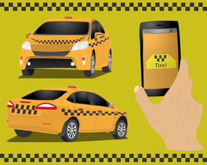 Taxi service. Yellow taxi cab. Hands with smartphone and taxi application. vector drawing illustration