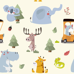 Seamless pattern with various cute and funny cartoon zoo animals on background -elephant, giraffe, koala bear, iguana, hippopotamus. Colorful vector illustration for fabric print, wallpaper.