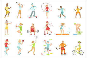 People Enjoying Physical Activities Illustrations Wall mural