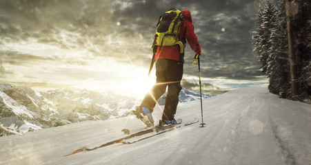 Ski Touring by Sunset