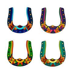 Vector set of decorative horseshoes on white background. Flat design. Illustration.