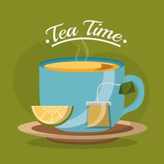 tea cup slice lemon and teabag on dish - tea time vector illustration