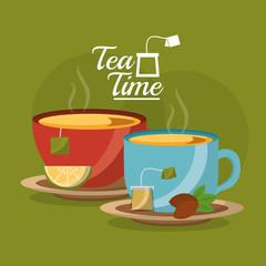 tea cup slice lemon and teabag seeds on dish - tea time vector illustration