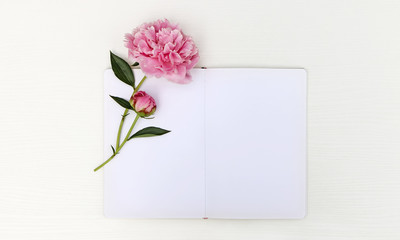Sketchbook mockup with a peony, floral flatlay