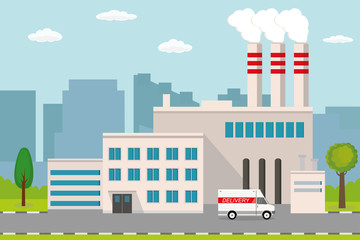 Industrial factory.city view on background.Delivery truck on road