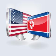 Sprechblasen mit USA und Nordkorea