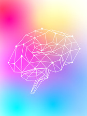 The Human Brain is brightly glowing with a multicolored bright neon light on a light colored background with soft transitions between the colored spots - pink, yellow, blue, green, turquoise & purple.