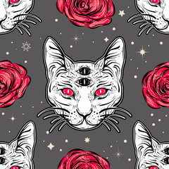Seamless pattern with four eyed cat and roses in tattoo art style.