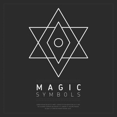 Wall Mural - Minimalist white linear element of magic symbol on gray backdrop