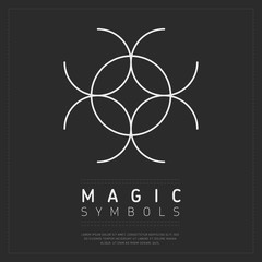 Wall Mural - Simple magic symbol with crossed circles in white color on dark gray background