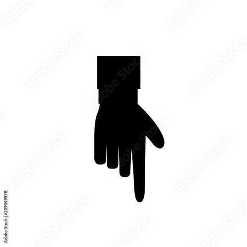 Index Finger Pointing Down Isolated On White Background Stock Image
