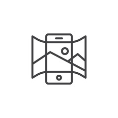 Panorama view smartphone outline icon. linear style sign for mobile concept and web design. Mobile phone with panoramic picture simple line vector icon. Symbol, logo illustration. Pixel perfect vector