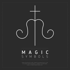 Wall Mural - White minimalist esoteric symbol with cross and curls on dark gray background