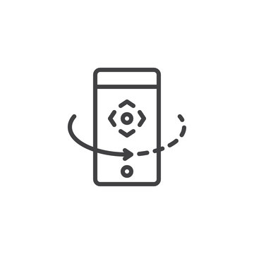 Mobile rotate outline icon. linear style sign for mobile concept and web design. phone rotation arrow simple line vector icon. Symbol, logo illustration. Pixel perfect vector graphics