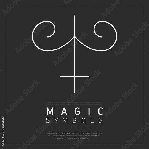 White lines creating ornamental design of magic symbol on dark web