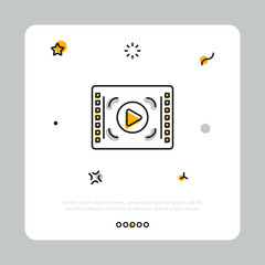 Simple linear vector icon of video player with button on white square against gray background