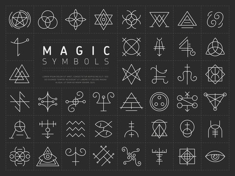 Vector collection of various simple linear white symbols od magic craft on dark gray background
