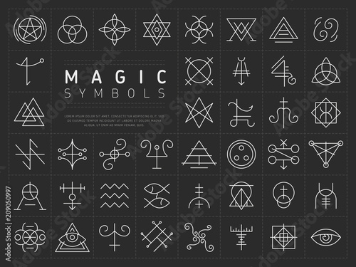 Wall mural Vector collection of various simple linear white symbols od magic craft on dark gray background