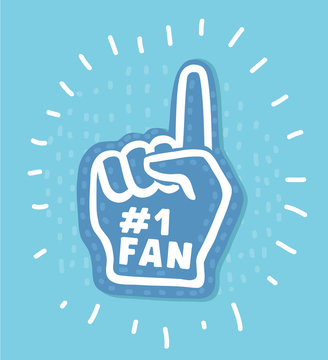 Number 1 (one) fan hand glove with finger raised