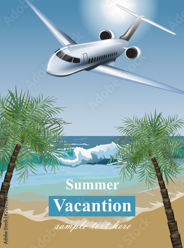summer vacation card with tropic beach and a plane vector travel